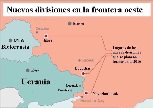 Lugar de emplazamiento de las tres nuevas divisiones que Rusia planea formar en el 2016