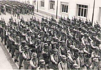 Parada del Ejército de Tierra español. A Coruña, 1970
